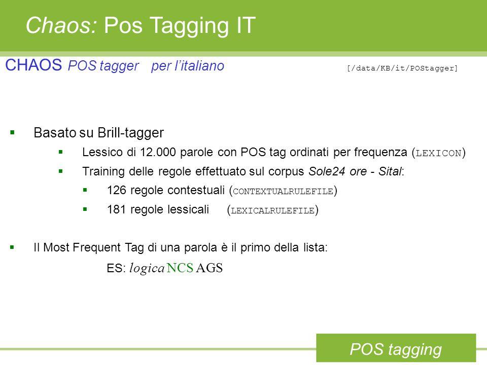 Chaos: Pos Tagging ITCHAOS POS tagger per l'italiano [/data/KB/it/POStagger] Basato su Brill-tagger.